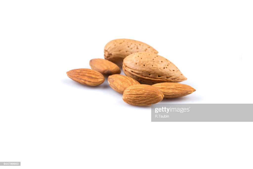 Dried almonds isolated : Stock Photo