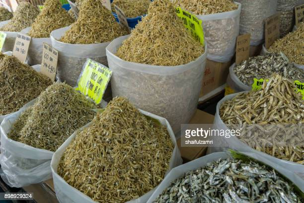Dried anchovies sell in local market