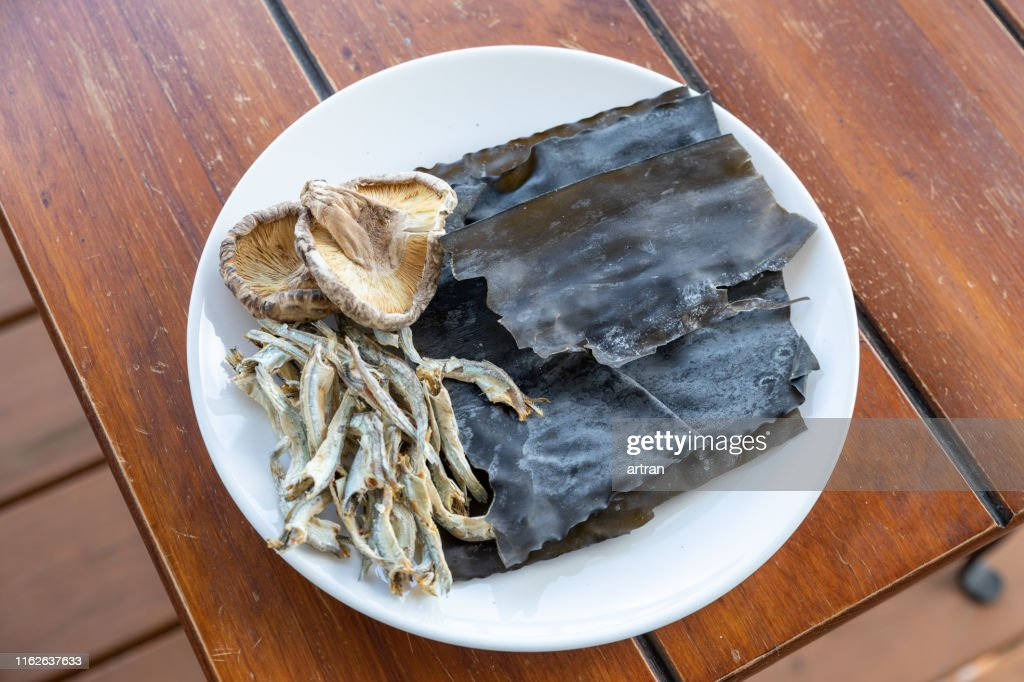 Dried Anchovy, Kelp ,Shiitake mushrooms : Stock Photo