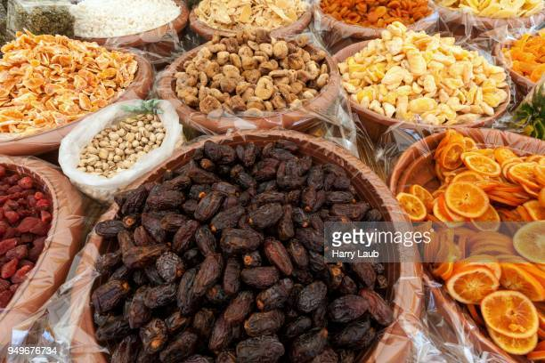Dried and candied fruits at a market stall in Cannobio, Lago Maggiore, Verbano-Cusio-Ossola province, Piedmont region, Italy