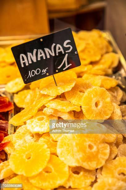 Dried Annanas on market, France, Europe
