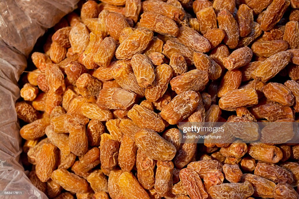 Dried dates for sale at the market : Stock Photo