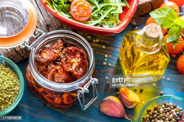 dried dehydrated tomatoes preservation - tradizione foto e immagini stock