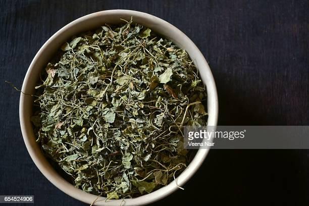 Dried Fenugreek leaves/Kasoori Methi leaves in a bowl