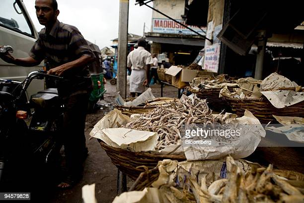 Dried fish a staple food item are displayed for sale in Colombo Sri Lanka on Monday May 28 2007 Sri Lanka's inflation probably slowed to a 12month...