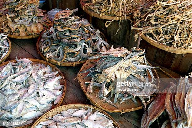 Dried fish for sale at an early morning market in Loikaw on 17th January 2016 in Kayah state Myanmar A large variety of local products are available...