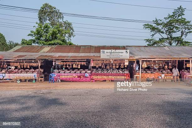 Dried fish maket vendors in Vientiane, Laos