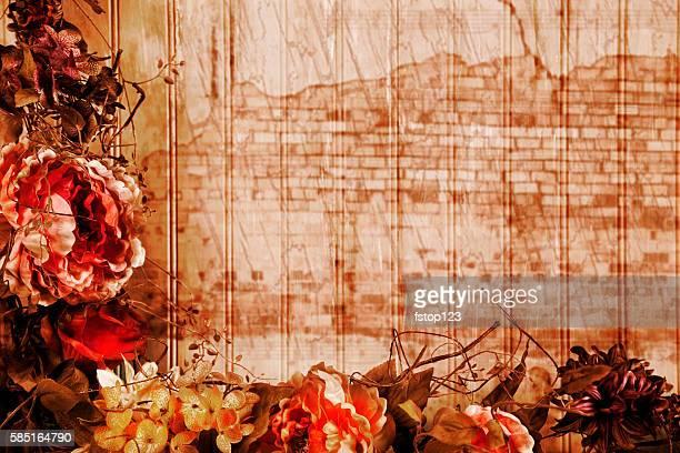 Dried floral arrangement, decoration in frame composition.