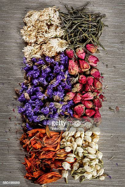 Dried flowers and tea leaves
