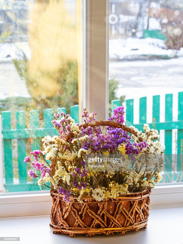 Dried flowers in a basket on a window : Stock Photo