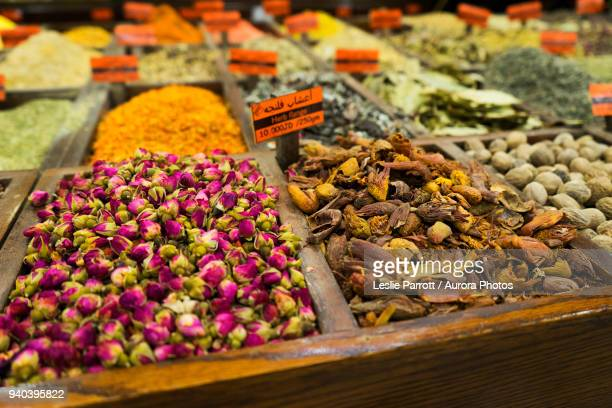 dried flowers on display for sale at a spice market in amman, jordan - jordan stock pictures, royalty-free photos & images