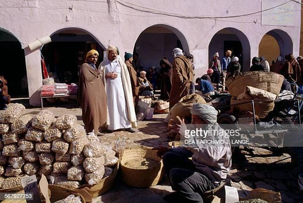 A dried fruit vendor in Ghardaia market Algeria
