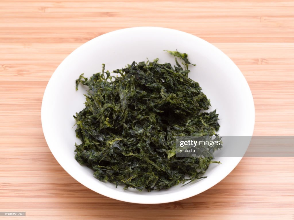 dried green seaweed : Stock Photo