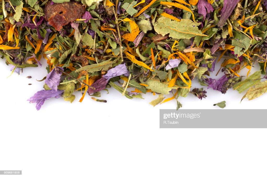 Dried herbal flower tea leaves over white background : Stock-Foto