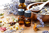 dried herbs and essential oils