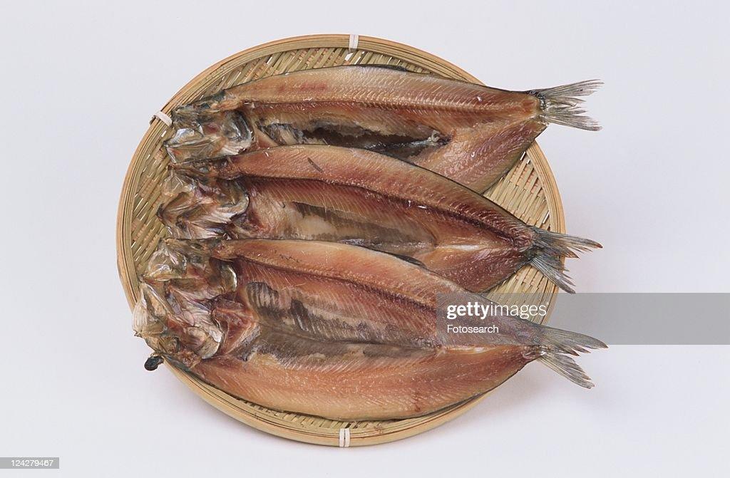 Dried Herrings On Plate : Stock Photo