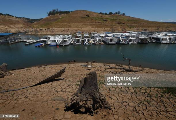 Dried mud and the remnants of a marina are seen at the New Melones Lake reservoir which is now at less than 20 percent capacity as a severe drought...