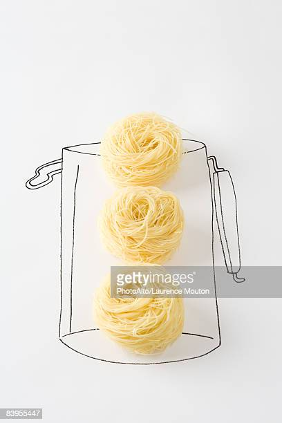 Dried noodles in drawing of canister