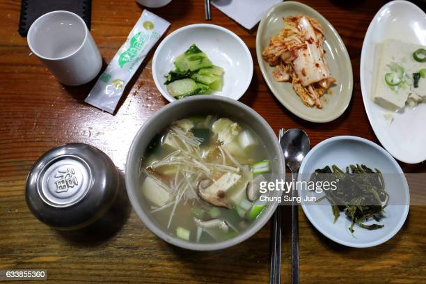 Dried pollack hangover soup is seen at Hwangtae Hoegwan near the venue for the Opening and Closing ceremony ahead of PyeongChang 2018 Winter Olympic...