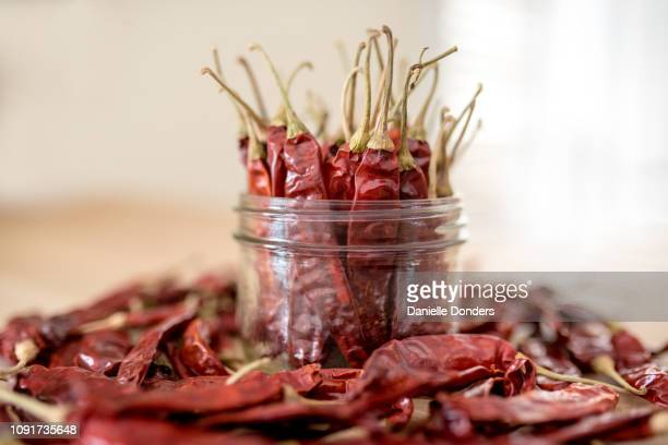 "dried red chili peppers in a mason jar - ""danielle donders"" stock pictures, royalty-free photos & images"