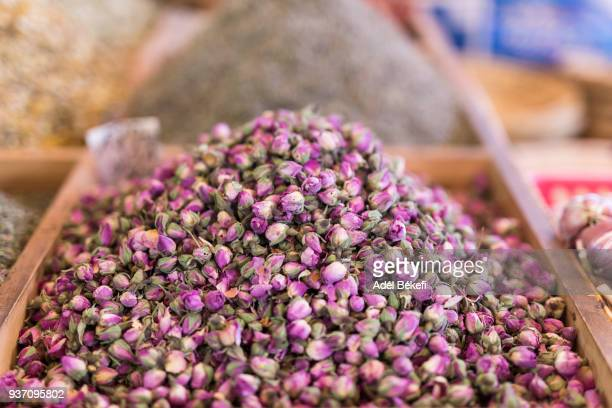 dried rose buds for sale at a local market (Morocco, Marrakech)