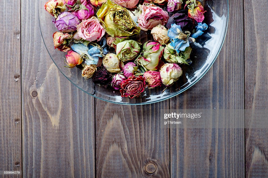 Getrocknete Rosen. Valentinstag Hintergrund. : Stock-Foto
