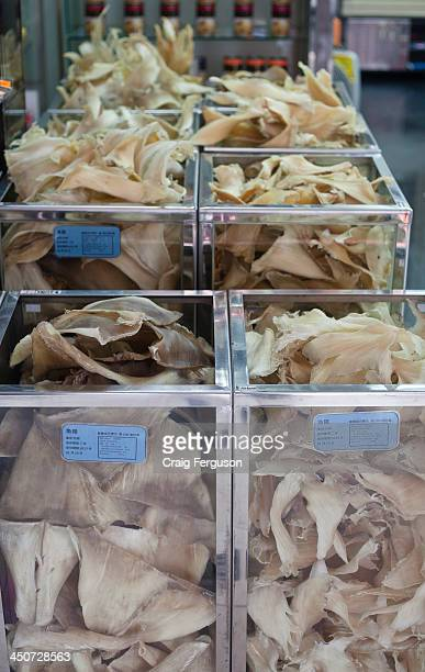 Dried shark fins for sale in a Taipei market
