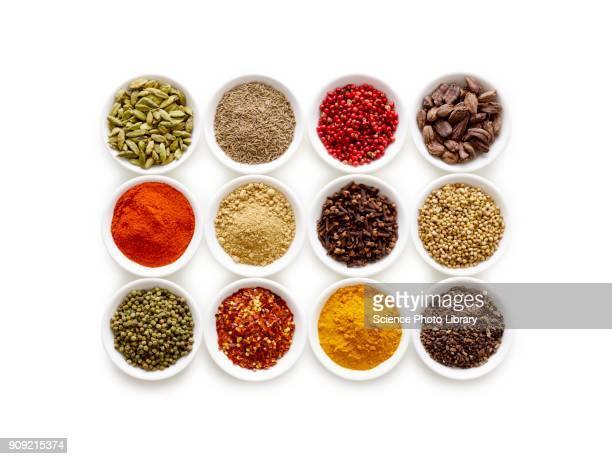 dried spices in small bowls - spice stock pictures, royalty-free photos & images