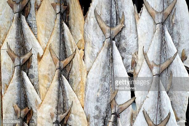 Dried tuna fish for sale at a roadside stall along the south coast of Sri Lanka on 17 April 2016