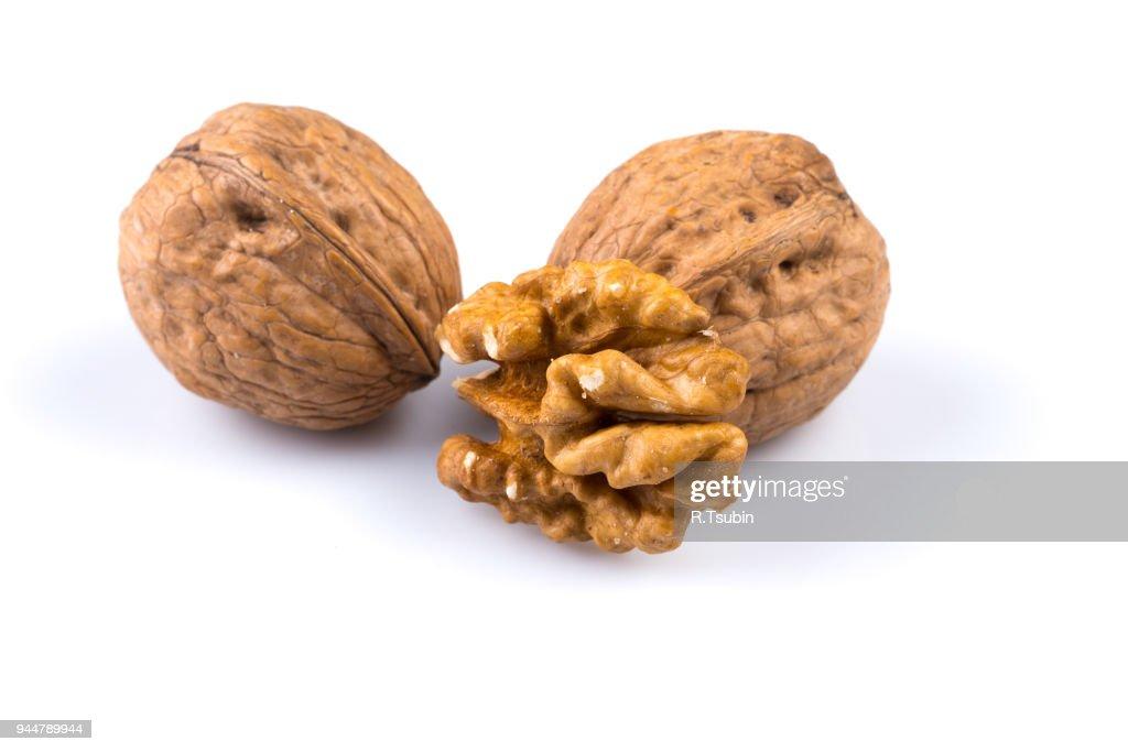 Dried walnut isolated : Stock Photo