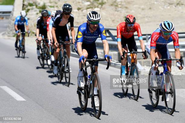 Dries Devenyns of Belgium and Team Deceuninck - Quick-Step & Fabien Doubey of France and Team Total Direct Energie in the Breakaway during the 84th...