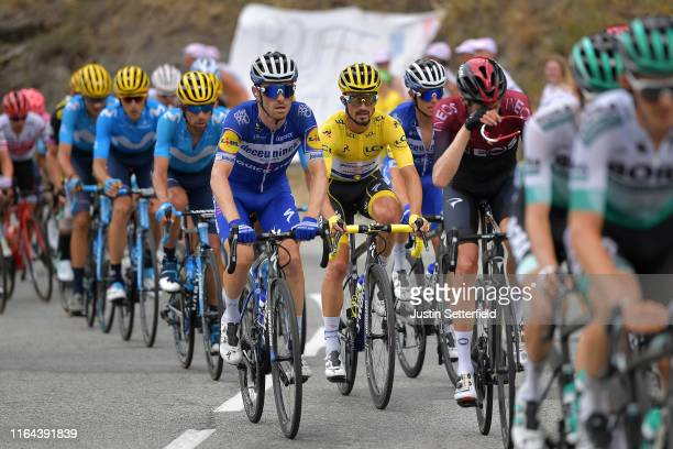Dries Devenyns of Belgium and Team Deceuninck - Quick-Step / Julian Alaphilippe of France and Team Deceuninck - Quick-Step Yellow Leader Jersey /...
