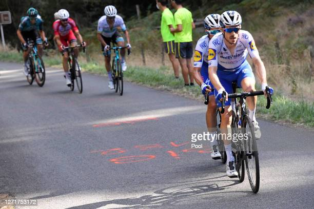 Dries Devenyns of Belgium and Team Deceuninck - Quick-Step / Julian Alaphilippe of France and Team Deceuninck - Quick-Step / Suc Au May / during the...