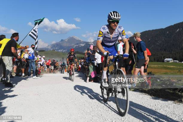 Dries Devenyns of Belgium and Team Deceuninck - Quick-Step / Montée du plateau des Glières / Gravel Strokes / Fans / Public / during the 107th Tour...