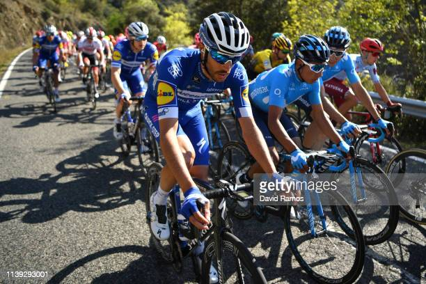 Dries Devenyns of Belgium and Team Deceuninck QuickStep / Nairo Quintana of Colombia and Movistar Team / Carlos Verona of Spain and Movistar Team /...