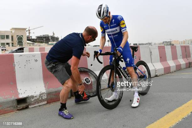 Dries Devenyns of Belgium and Team DeceuninckQuickStep / Mechanic / Mechanical Problem / Wheel / during the 5th UAE Tour 2019 Stage 5 181km stage...