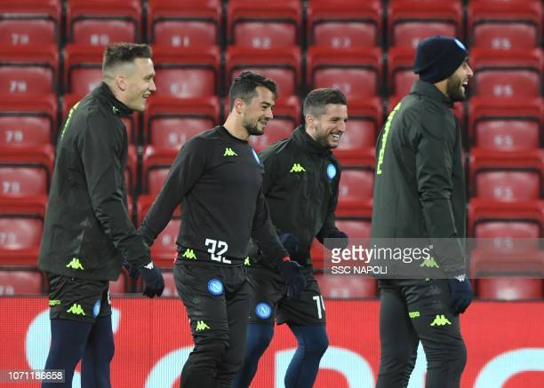 Dries Mertens Amin Younes during the SSC Napoli Training Session on December 10 2018 in Liverpool United Kingdom