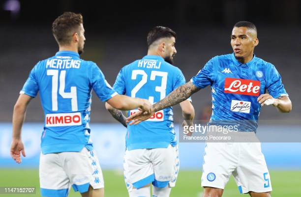 Dries Mertens and Allan of SSC Napoli during the Serie A match between SSC Napoli and Cagliari at Stadio San Paolo on May 05 2019 in Naples Italy