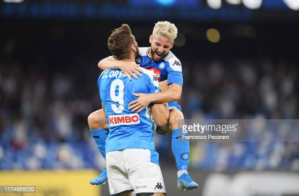 Dries Mertens and Fernando Llorente of SSC Napoli celebrate the 20 goal scored by Dries Mertens during the Serie A match between SSC Napoli and UC...