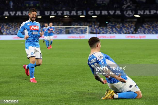 Dries Mertens and Giovanni Di Lorenzo of SSC Napoli celebrate the 20 goal scored by Giovanni Di Lorenzo during the Serie A match between SSC Napoli...