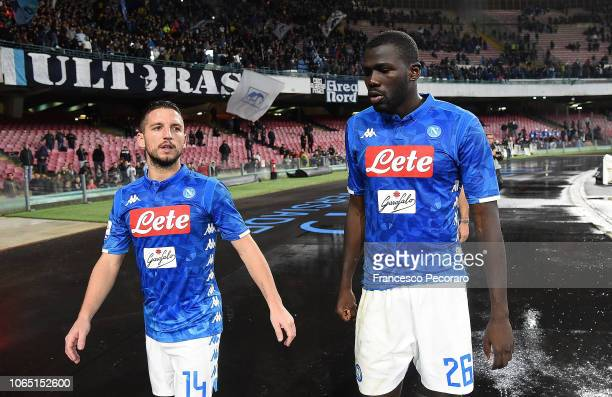 Dries Mertens and Kalidou Koulibaly of SSC Napoli show their disappointment after the Serie A match between SSC Napoli and Chievo Verona at Stadio...