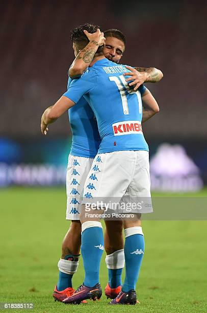 Dries Mertens and Lorenzo Insigne of Napoli celebrates a goal 10 scored by Dries Mertens during the Serie A match between SSC Napoli and Empoli FC at...