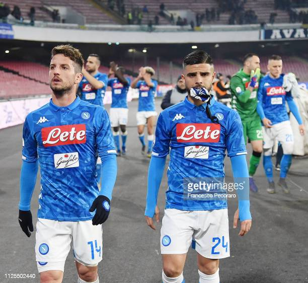 Dries Mertens and Lorenzo Insigne of SSC Napoli show their disappointment after the Serie A match between SSC Napoli and Torino FC at Stadio San...