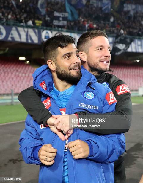 Dries Mertens and Lorenzo Insigne players of SSC Napoli celebrate the victory after the Serie A match between SSC Napoli and Frosinone Calcio at...