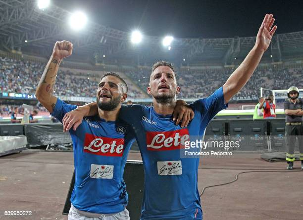 Dries Mertens and Lorenzo Insigne players of SSC Napoli celebrate the victory after the Serie A match between SSC Napoli and Atalanta BC at Stadio...