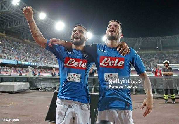 Dries Mertens and Lorenzo Insigne players of SSC Napoli celebrates the victory after the Serie A match between SSC Napoli and Atalanta BC at Stadio...
