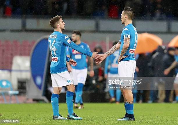 Dries Mertens and Marek Hamsik players of SSC Napoli show their disappointment after the Serie A match between SSC Napoli and ACF Fiorentina at...