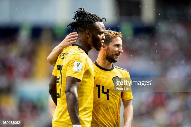 Dries Mertens and Michy Batshuayi of Belgium in action during the FIFA World Cup Group G match between Belgium and Tunisia at Spartak Stadium on June...