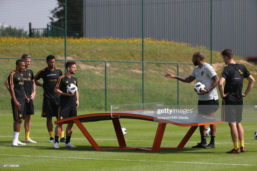 Dries MERTENS and Thierry HENRY pictured during a training session of the Belgian national soccer team ' Red Devils ' at the Belgian National Football Center, as part of preparations for the 2018 FIFA World Cup in Russia, on June 4, 2018 in Tubize, Belgium. Photo by Vincent Van Doornick - Isosport