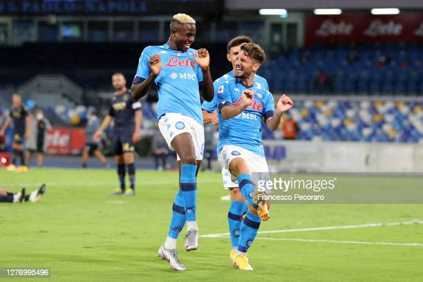 Dries Mertens and Victor Osimhen of SSC Napoli celebrate the 30 goal scored by Dries Mertens during the Serie A match between SSC Napoli and Genoa...